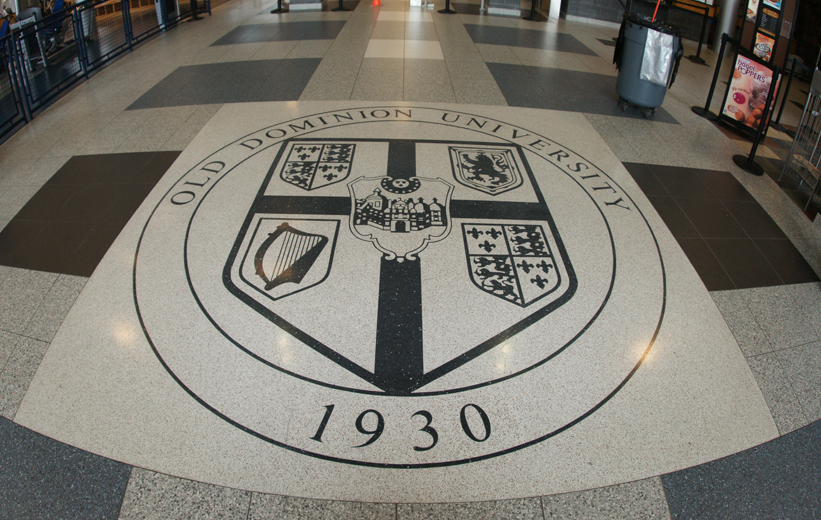 Old Dominion University Terrazzo logo floor design