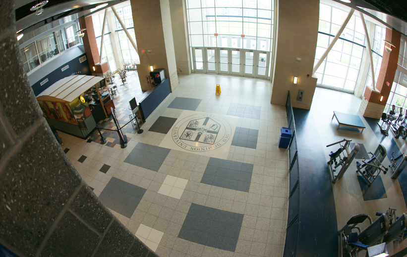 terrazzo tiles and terrazzo seal at the Old Dominion University gym