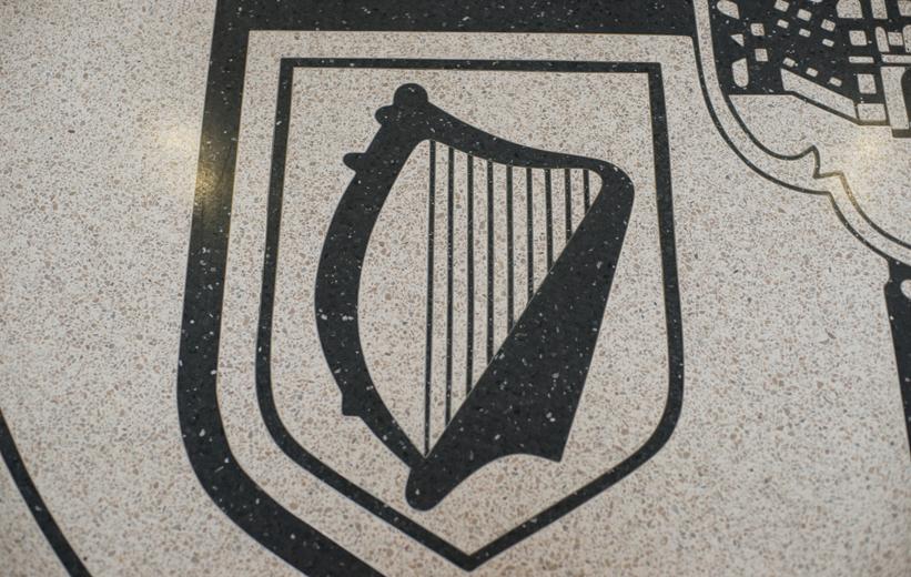 Harp design in black terrazzo at Old Dominion University