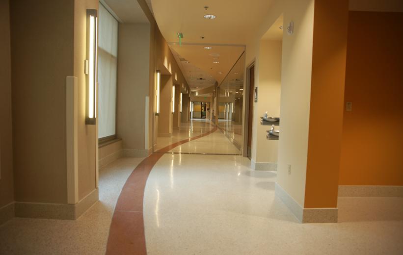 Way finding design in terrazzo flooring