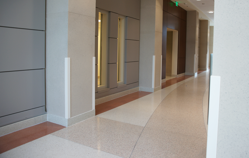 Gorgeous terrazzo floors installed in hallway of Orlando Veterans Affair Medical Center