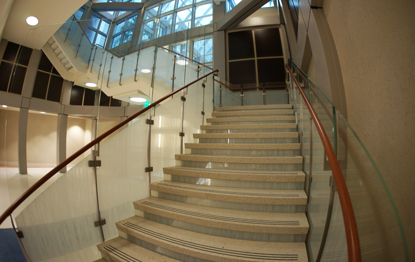 Precast terrazzo self supporting stairs installed at Orlando Veterans Affair Medical Center