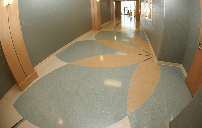 Terrazzo Flower Design in the hallway at Pelion High School