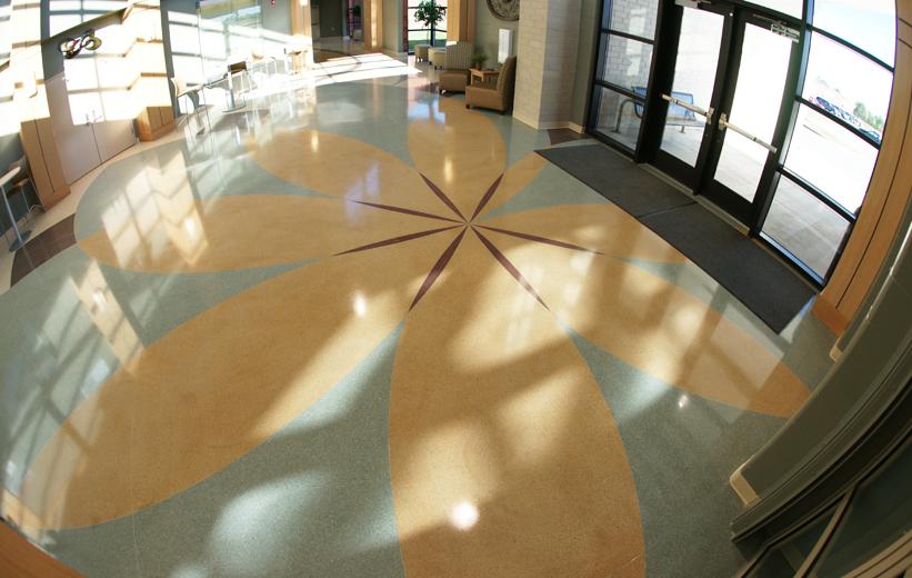 Flower Design in the terrazzo flooring at Pelion High School