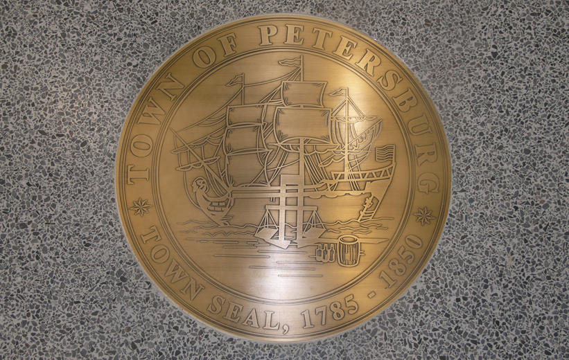 Town of Petersburg brass seal in terrazzo