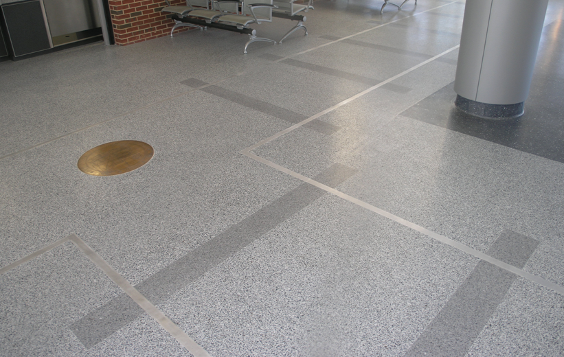 Gray terrazzo floors at St. Petersburg Multi-Transport Transit Center