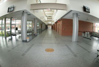 Petersburg Multi-Modal Transportation Station with gray terrazzo flooring