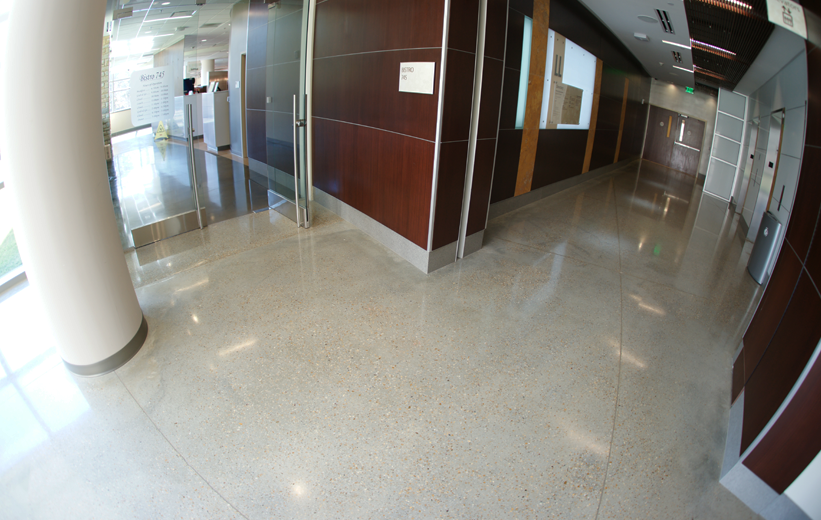 Neutral color terrazzo floor at Piedmont Newnan Hospital