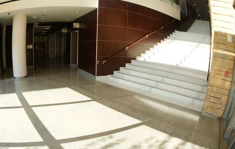 Piedmont Newnan Hospital terrazzo flooring with wide precast terrazzo staircase
