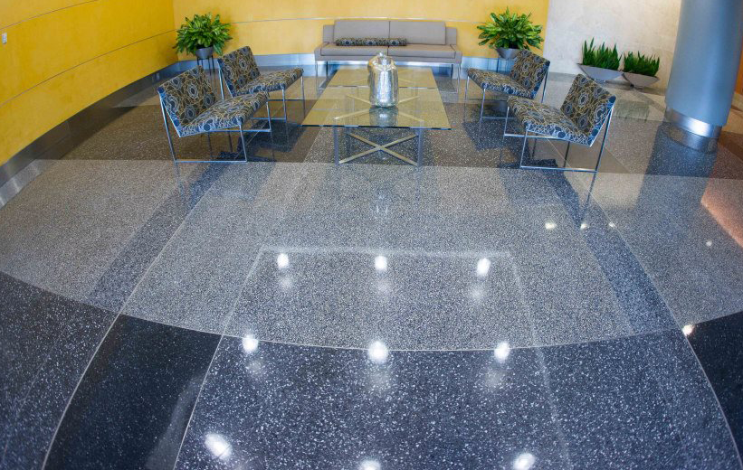 Reston Overlook Epoxy Terrazzo Floors in the apartment lobby