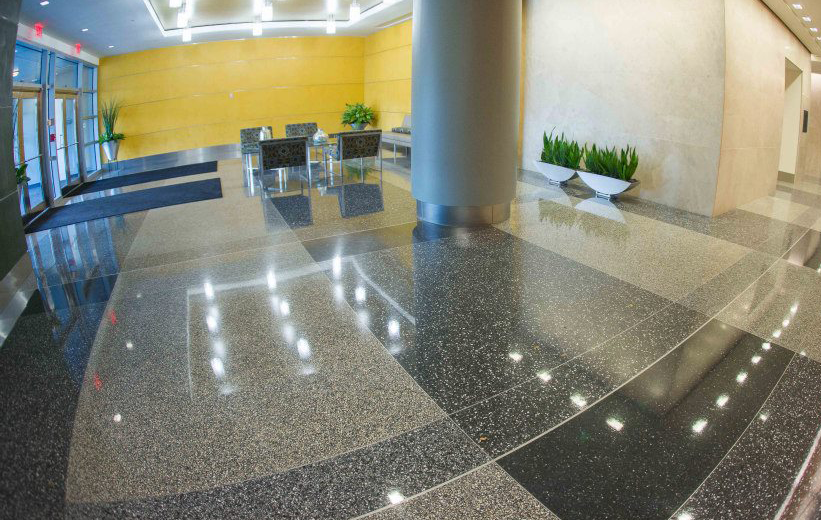 Resinous terrazzo flooring at the Reston Overlook Apartments in Virginia