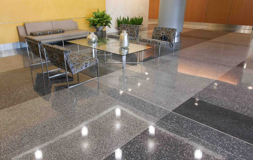 Gray epoxy terrazzo floors in the lobby area of the Reston Overlook in Virginia