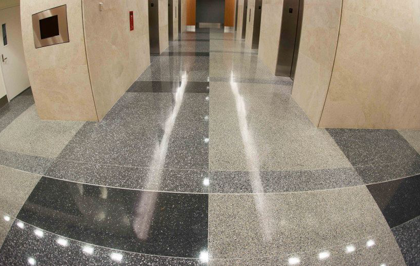Two Reston Overlook with gray epoxy terrazzo flooring in hallways