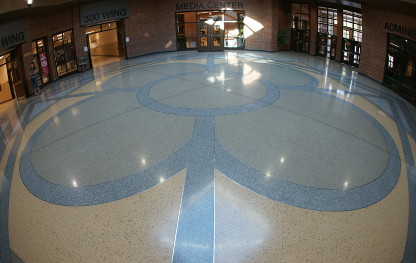 Geometric Cementitous Terrazzo Design at Richmond Hill Middle School