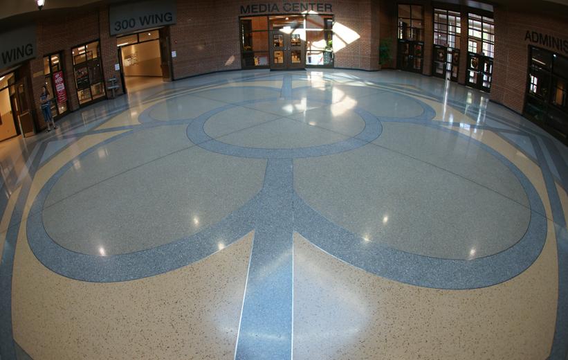 Geometric Cementitous Terrazzo Design at Richmond Hill Middle School