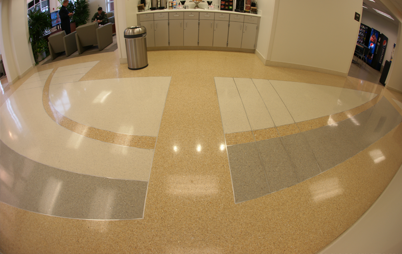 Gold terrazzo floors at Southwest Florida International Airport