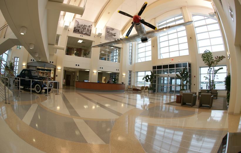 Airport Lobby with a seamless terrazzo floor design | Doyle Dickerson Terrazzo