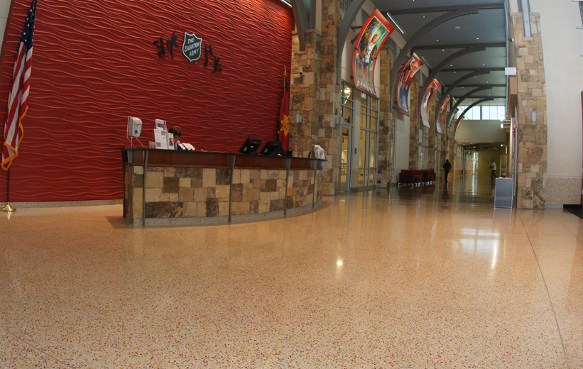 Front Desk Terrazzo Flooring at Salvation Army Community Center