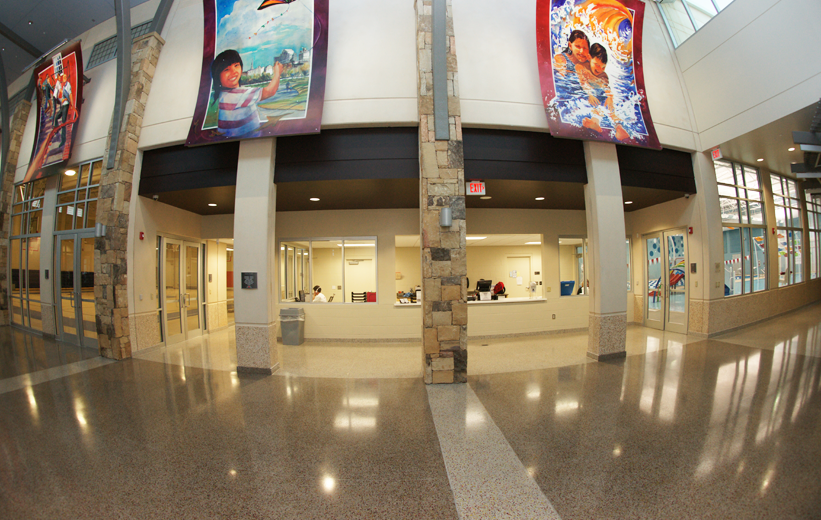 community center design with epoxy terrazzo