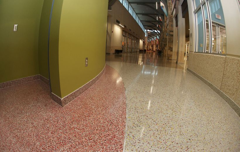 Red terrazzo floors at Salvation Army Community Center
