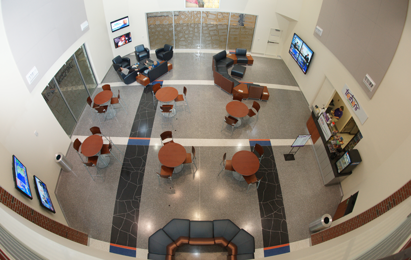 Office Lobby Design with Terrazzo Flooring at Southwest Recreation Center in Florida