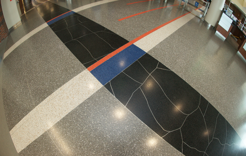 creative terrazzo floor pattern with aluminum divider strip layout