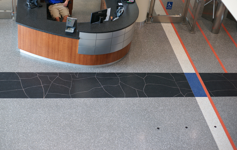Southwest Recreation Center Terrazzo Flooring at Gym Entrance