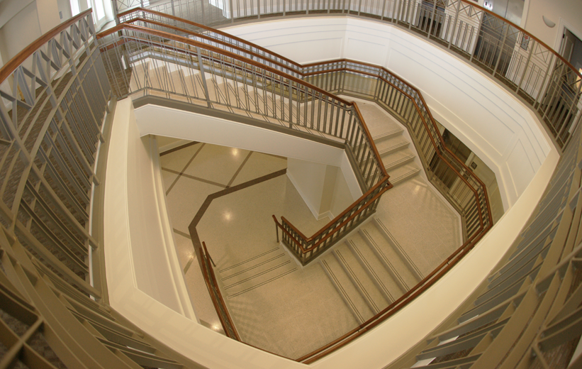 Precast terrazzo stairs and tile landing