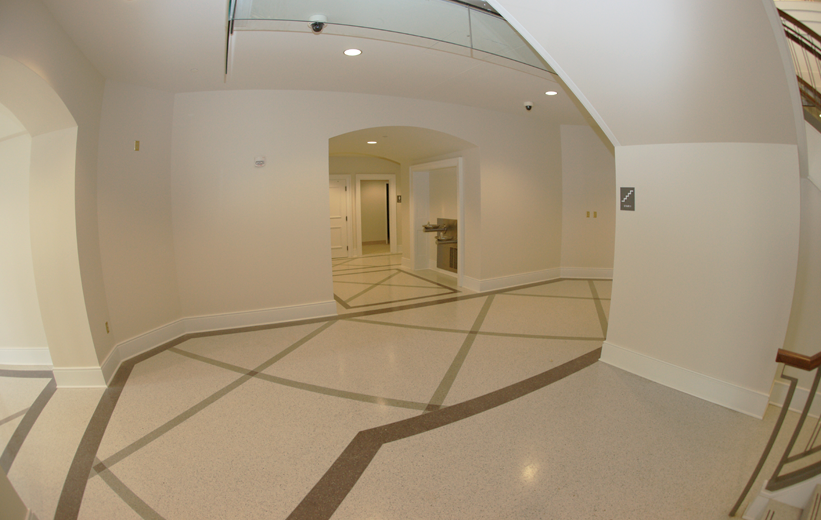 Seamless terrazzo flooring at Spotsylvania County Courthouse