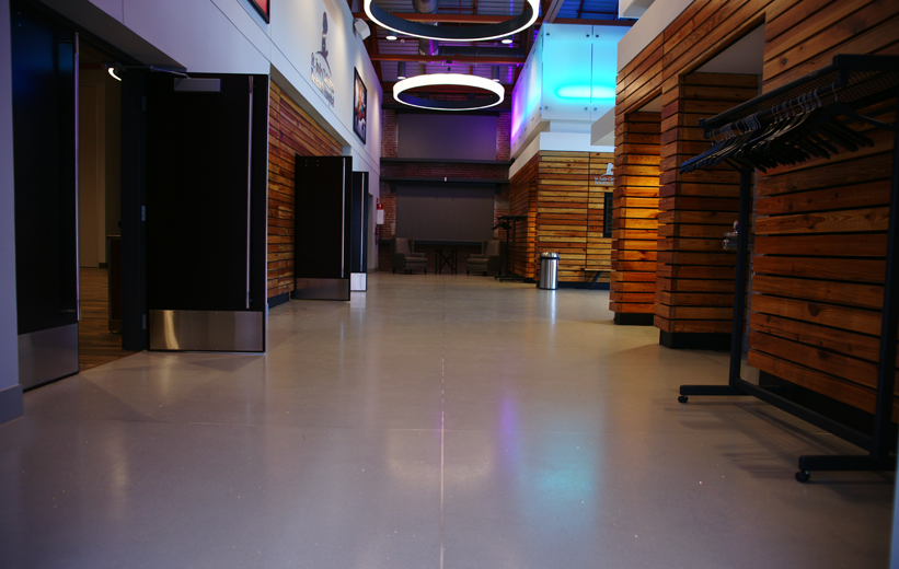 Seamless terrazzo flooring with bright LED lights at St. Jude Children's Research Hospital