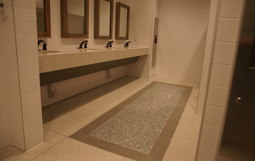 Terrazzo design installed in hospital restroom