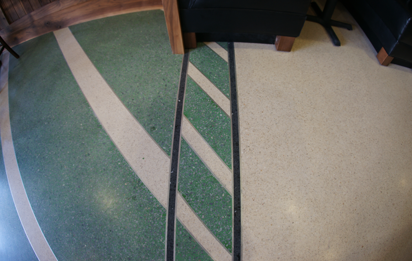 Green stripe terrazzo design at Stars on King Restaurant