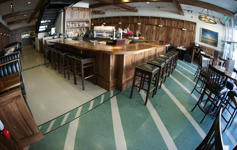 Green terrazzo flooring at Star on King bar and restaurant