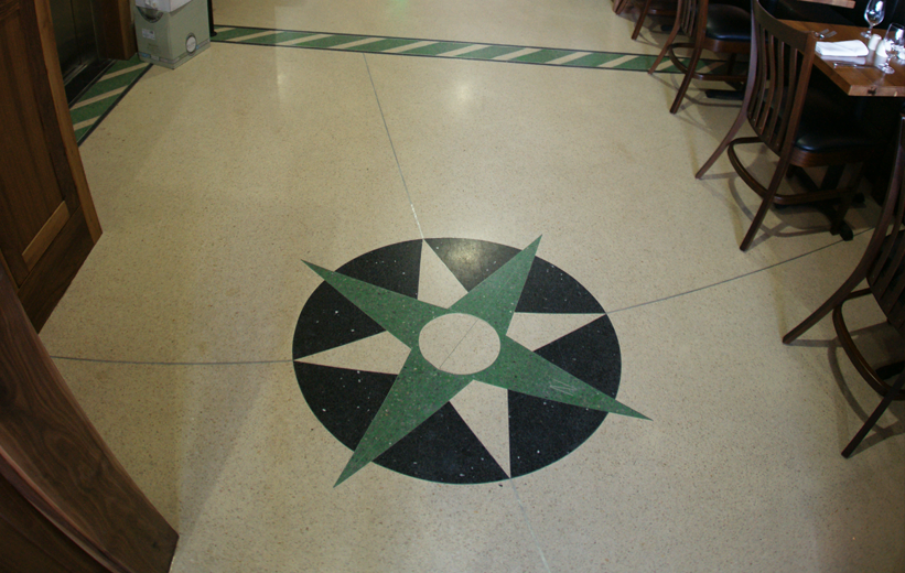Terrazzo compass logo at Star on Kings Restaurant and Bar