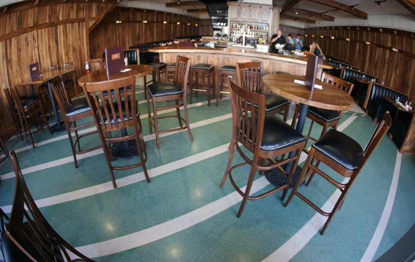 Green epoxy terrazzo flooring at Star on Kings Restaurant and Pub