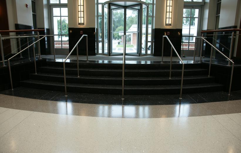 Black terrazzo stairs