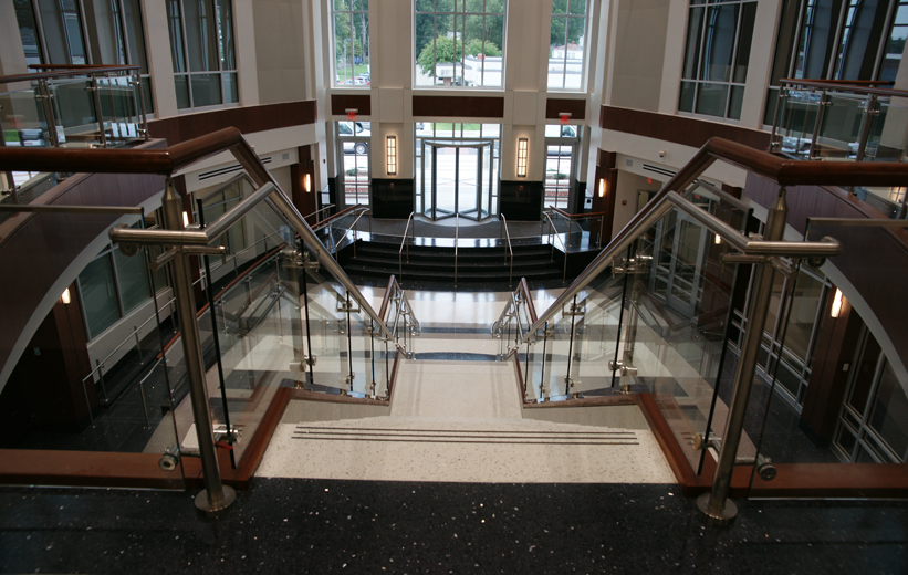 Grand lobby entrance terrazzo flooring and stairs