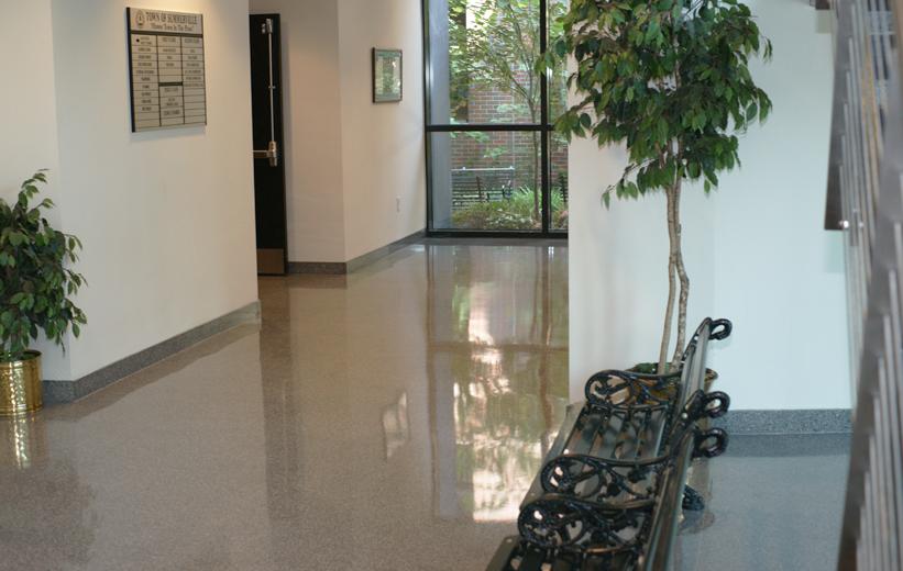 Shiny Terrazzo Floor in Town Hall corridor