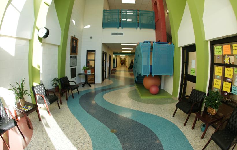 Multi-color terrazzo floor design at T. Harry Garrett Elementary School