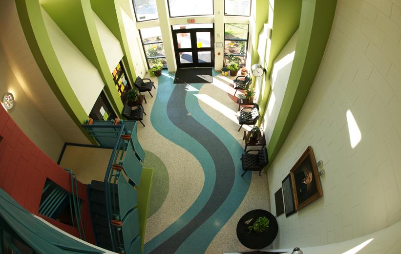 Aerial View of the Terrazzo Floor at T. Harry Garrett Elementary School.