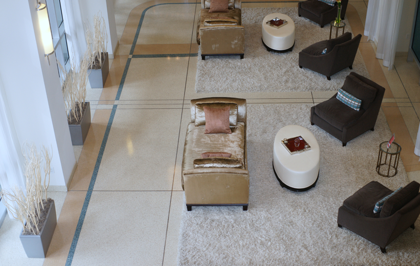 Epoxy terrazzo flooring at the Paramount 515 apartment complex in Orlando, Florida