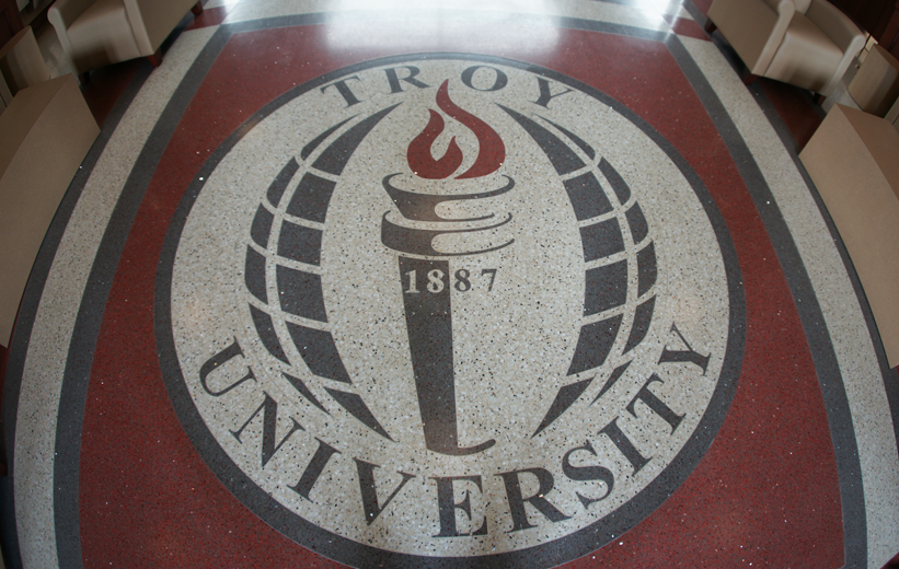 Troy University Logo in Epoxy Terrazzo at the school dining hall