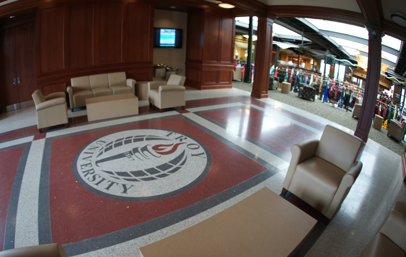 Epoxy Terrazzo Flooring in walkway at Troy University in Alabama
