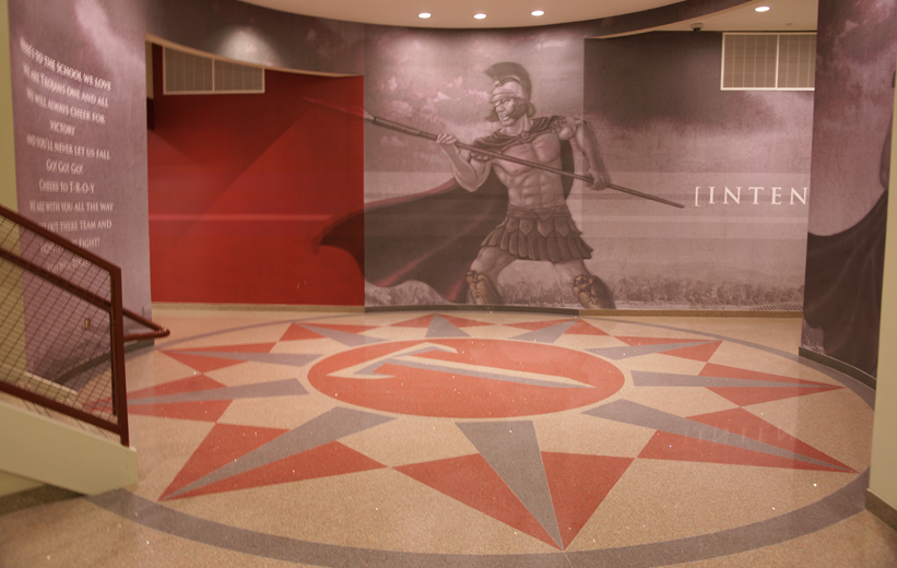 Troy University Terrazzo Flooing Design with spartan wallpaper