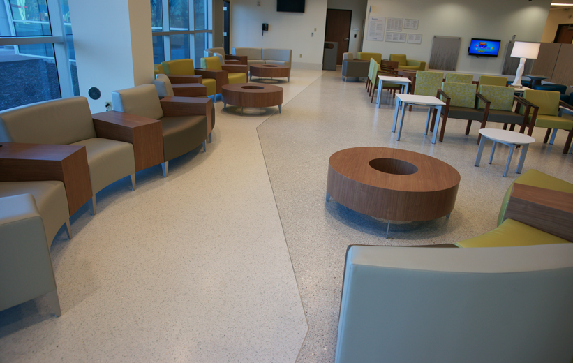 Terrazzo flooring installed in main lobby of UF Health North