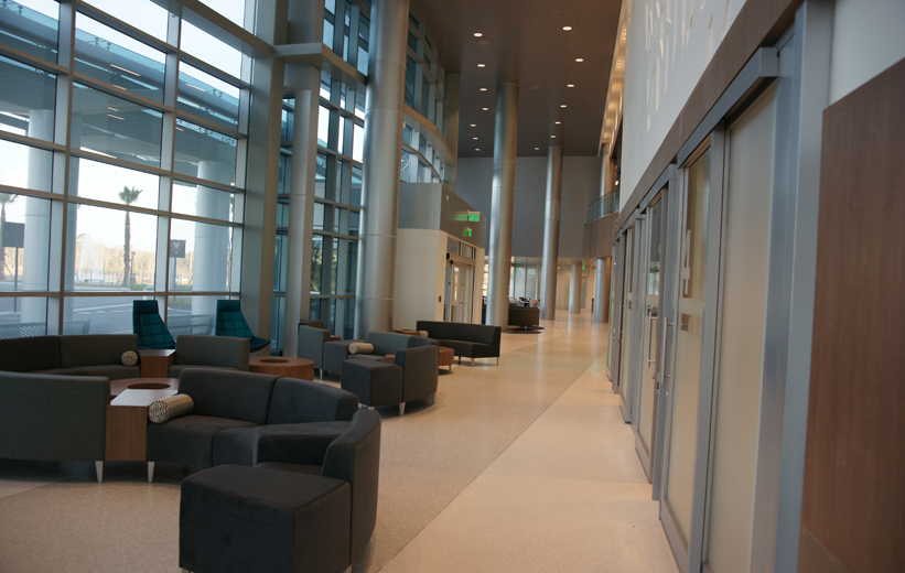 UF Health North covered in terrazzo flooring throughout its hallways
