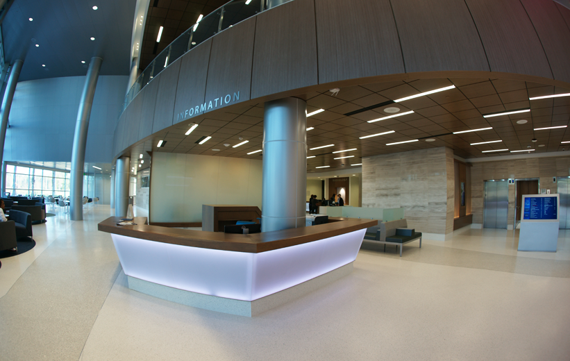 Information desk at UF Health North with terrazzo floors