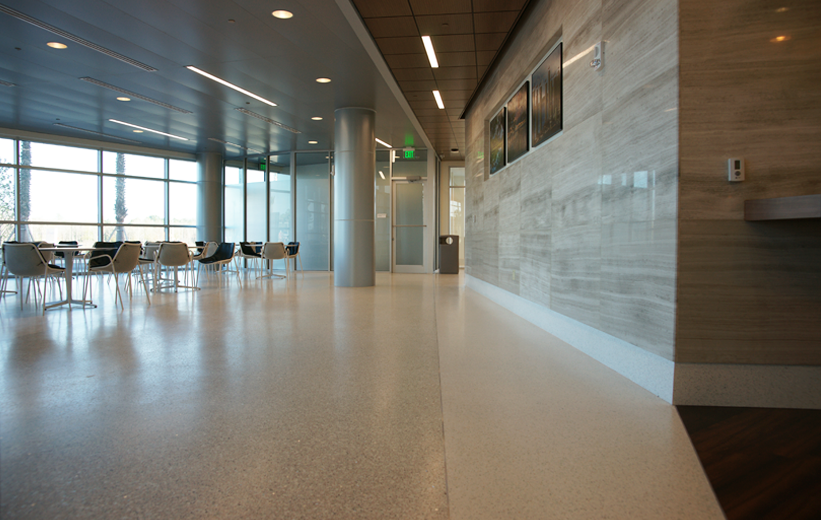 Neutral color terrazzo flooring at UF Health North