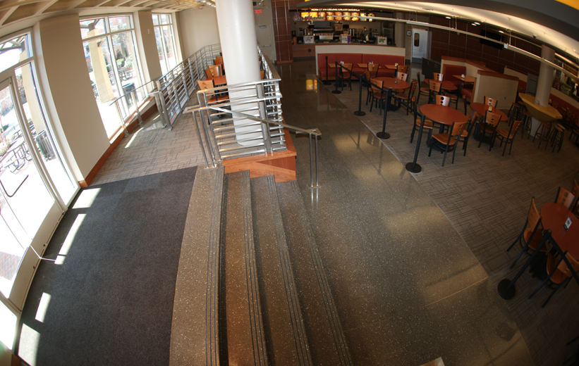 UNCC Prospector Hall with black epoxy terrazzo floors and stair treads