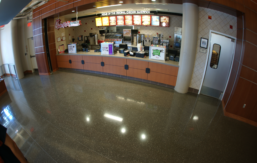 Chick-Fil-A inside UNCC Prospector Hall covered in black terrazzo floors